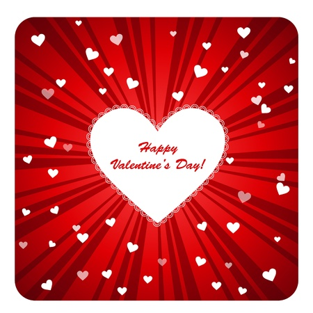 ruffles: Clip art illustration post card with colorful Happy Valentine Day greetings showing white heart with ruffles in the center against burst dark and light red background and small hearts around Illustration