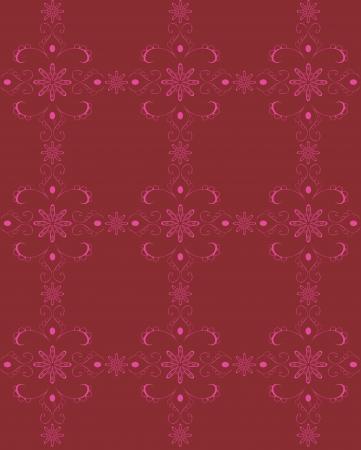 claret red: Seamless vector wallpaper ilustraci�n retro patr�n de fondo con elementos florales, volutas y flores hechas en colores burdeos plazas, rojo y rosa