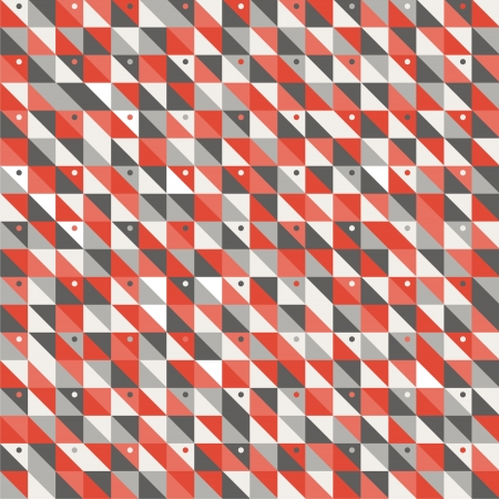 Seamless vector illustration mosaic background made of squares, triangles and dots of different colors like dark and light gray, tints of red