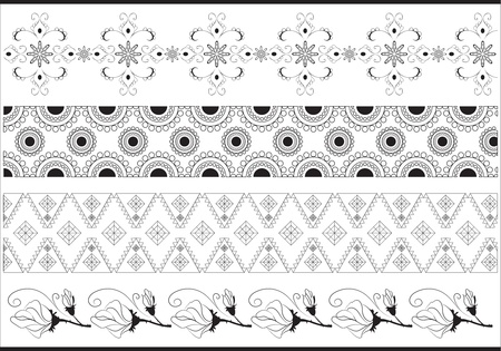 illustration border set made of seamless floral and geometric pattern Vector