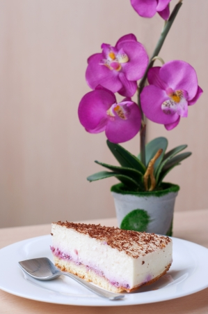 Slice portion of delicious cheesecake with berry jam covered with chocolate on white plate with dessert spoon with pink orchid flowers at background photo