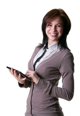 Beautiful young woman holding a tablet photo