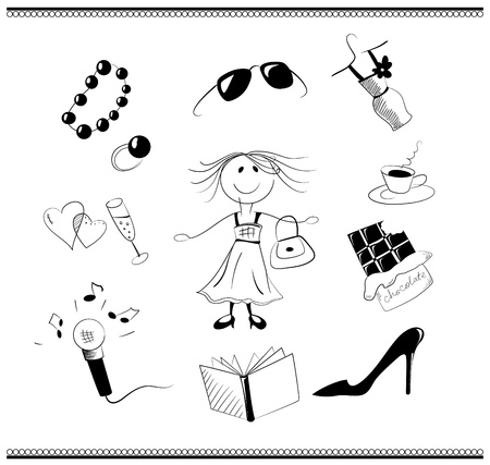 shopping champagne: Cartoon black and white collection of female things that make up a womans life Illustration