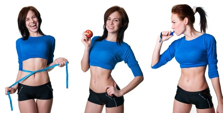 Set of pretty athletic women doing sports, blowing a whistle, losing weight, looking slim and happy Isolated on white photo