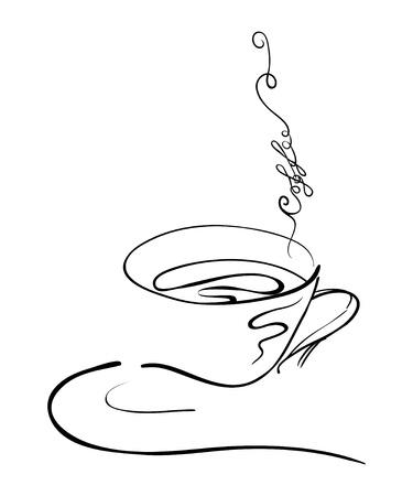 illustratie hand tekening van een warm kopje koffie op een schotel met stoom wervelingen in de vorm van een tekst met een koffie woord