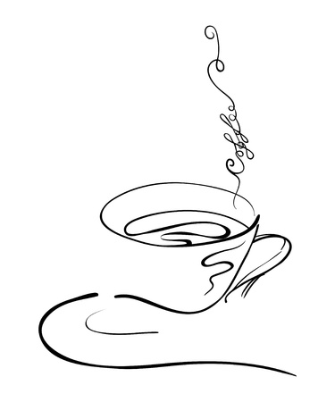 illustration hand drawing of a hot coffee cup on a saucer with steam swirls in a form of a text with a coffee word Illustration