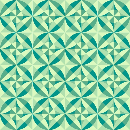 geometric seamless pattern background made of tiles with circle, square, diamond, diagonal lines of green shades and tints Vector