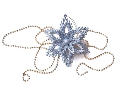 Silver Christmas and New Year decoration star  photo