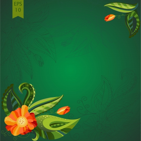 Illustration postcard with ornate orange blossoming flowers and buds against green lush leaves with elegant decorand swirls. Dark green background Vector