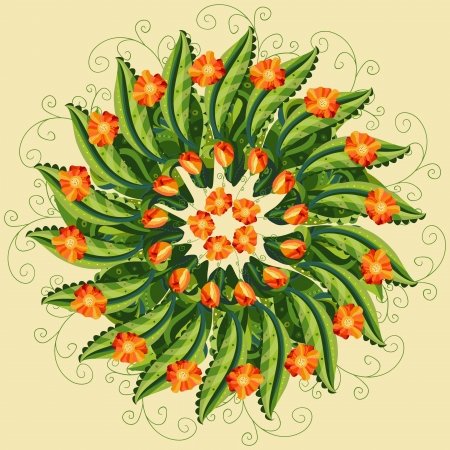 Illustration of a hand drawn post card with floral round ornament in the middle made of green leaves and petals, orange red flowers and buds. Yellow background.  Vector
