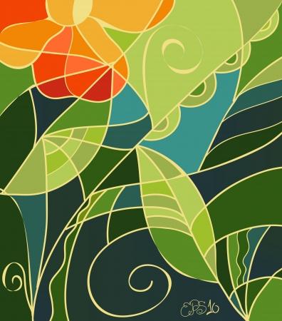 vetrate artistiche: Illustrazione vettoriale di sfondo di vetro colorato con i fiori d'arancio, foglie verde chiaro e scuro e turbinii