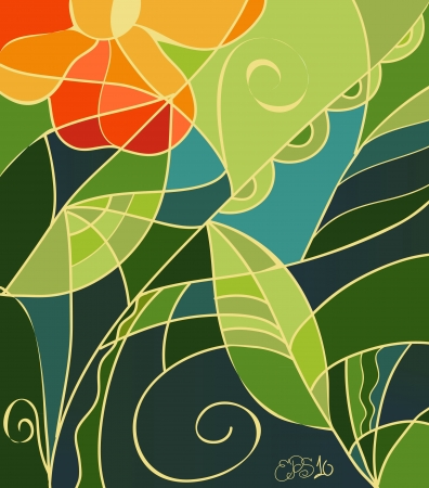 Vector illustration of stained glass background with orange flowers, light and dark green leaves and swirls Vector