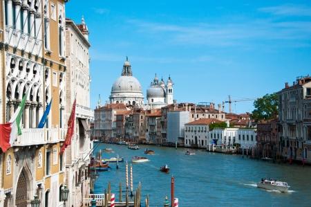 View of Grand Canal with Basilica di Santa Maria della Salute from the bridge  Venice, Italy