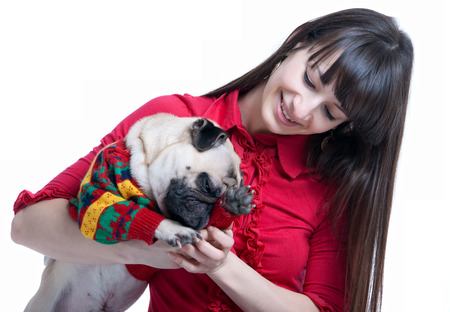 Pretty young brunette girl in pink blouse, playing and holding her cute pug dog pet in warm knitted winter sweater, a dog scratching its nose. Isolated on white background photo