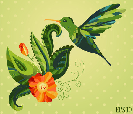 Vector illustration of beautiful colourful colibri bird flying over a fresh orange flower. Both are richly decorated with different ornaments. Vector