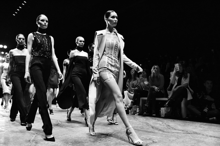finale: SYDNEY  AUSTRALIA - MAY 16: Models walk at finale on runway during sexy lace female MISHA collection fashion show during Mercedes Benz Fashion Week Australia on 16 May 2016 in Carriageworks in Sydney