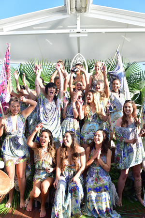 SYDNEY  AUSTRALIA - MAY 19: Dancers perform and have fun during Camilla Franks collection fashion show on Seadeck boat  in Sydney Harbour during Mercedes Benz Fashion Week Australia on 19 May 2016
