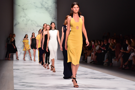 finale: SYDNEY  AUSTRALIA - 16 May: Models walk at finale on runway during Rebecca Vallance female fashion collection during Mercedes Benz Fashion Week Australia on 16 May 2016 in Carriageworks Sydney