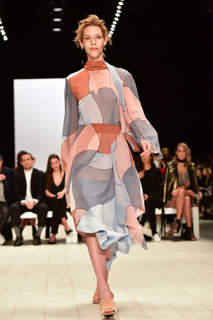 SYDNEY  AUSTRALIA - 18 May: Model walks on runway during CMeo Collective female fashion collection during Mercedes Benz Fashion Week Australia on 18 May 2016 in Carriageworks Sydney