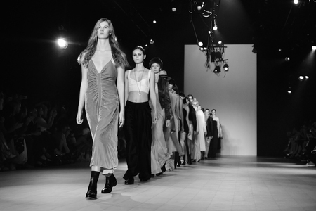 finale: SYDNEY  AUSTRALIA - 17 May: Models walk finale on runway during Bianca Spender female fashion collection during Mercedes Benz Fashion Week Australia on 17 May 2016 in Carriageworks Sydney Editorial