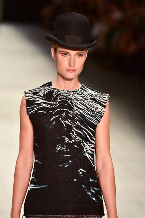 pragmatic: SYDNEY  AUSTRALIA - 20 May: Model walks on runway during Ahmad Taufik show at The Innovators fashion design studio during Mercedes Benz Fashion Week Australia on 20 May 2016 in Carriageworks Sydney