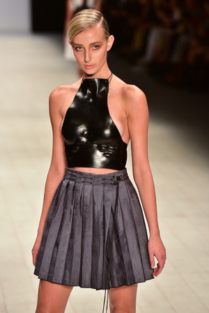 SYDNEY  AUSTRALIA - 20 May: Model walks on runway during Frederick Jenkyn show at The Innovators fashion design studio during Mercedes Benz Fashion Week Australia on 20 May 2016 in Carriageworks Sydney