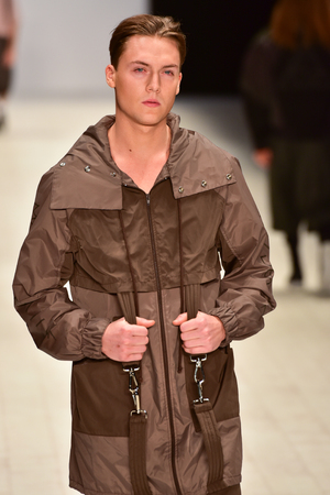 SYDNEY  AUSTRALIA - 20 May: Model walks on runway during Mandem show at The Innovators fashion design studio during Mercedes Benz Fashion Week Australia on 20 May 2016 in Carriageworks Sydney