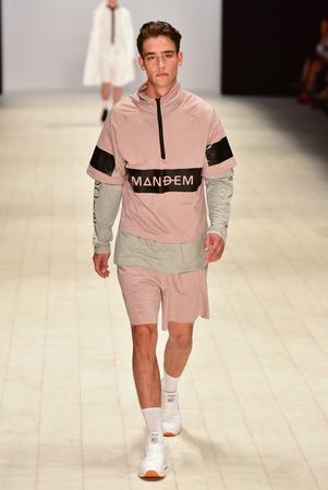 elite: SYDNEY  AUSTRALIA - 20 May: Model walks on runway during Mandem show at The Innovators fashion design studio during Mercedes Benz Fashion Week Australia on 20 May 2016 in Carriageworks Sydney