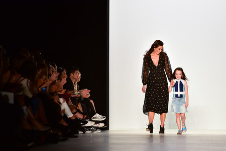 finale: SYDNEY  AUSTRALIA - MAY 19: Designer Patreece Botheras comes to public with her daughter at finale of DUSKII fashion show Mercedes Benz Fashion Week Australia on 19 May 2016 in Carriageworks in Sydney