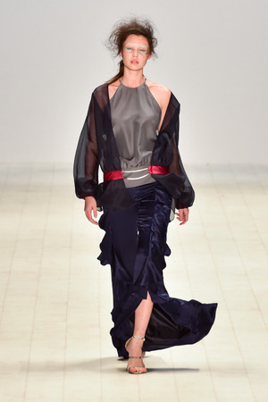 satin dress: SYDNEY  AUSTRALIA - 20 May: Model walks on runway during Chaddie show at Raffles International showcase during Mercedes Benz Fashion Week Australia on 20 May 2016 in Carriageworks Sydney