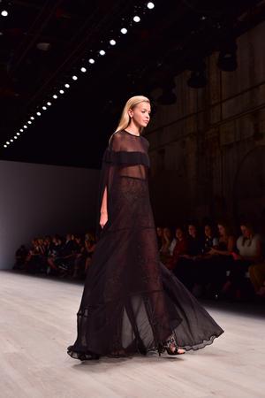 17 20: SYDNEY  AUSTRALIA - 17 May: Model walks runway catwalk during Steven Khalil fashion show at Mercedes Benz Fashion Week Australia on 20 May 2016 in Carriageworks Sydney Editorial