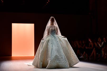 SYDNEY  AUSTRALIA - 17 May: Model walks runway catwalk during Steven Khalil fashion show at Mercedes Benz Fashion Week Australia on 20 May 2016 in Carriageworks Sydney Editorial