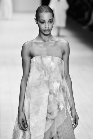 SYDNEY  AUSTRALIA - 20 May: Model walks on runway during Jessica Van show at The Innovators fashion design studio during Mercedes Benz Fashion Week Australia on 20 May 2016 in Carriageworks Sydney