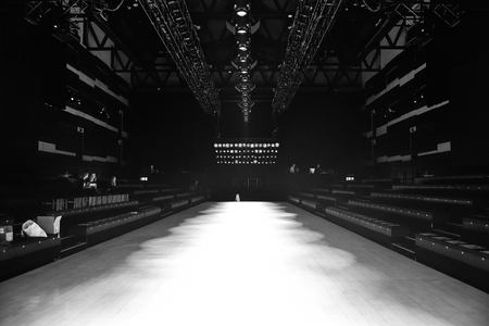 SYDNEY  AUSTRALIA - 20 May: Empty runway stage gets prepared before the show Raffles International Showcase at Mercedes Benz Fashion Week Australia on 20 May 2016 in Carriageworks Sydney Editorial