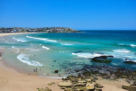 Busy famous Bondi beach on a bright summer day in Sydney New South Wales Australia Фото со стока - 75063174