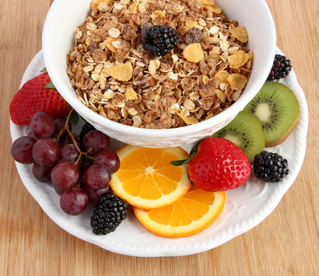 Muesli cereal in white bowl with fruit