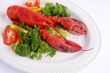 Cooked lobster with various vegetables on white plate photo