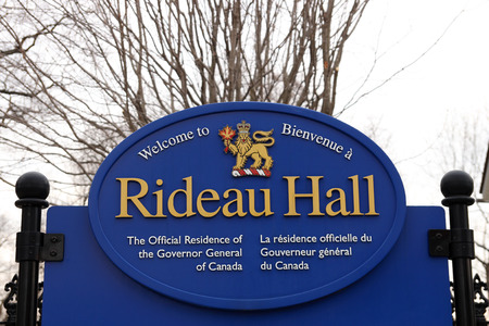 Sign at the entrance of Rideau Hall, the official residence of the Governor General of Canada