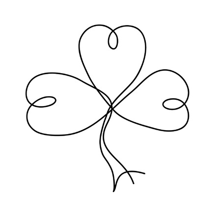 Clover from one line. Drawing one line.