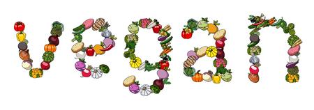 野菜からベクトルの言葉。ベジタリアン。  イラスト・ベクター素材