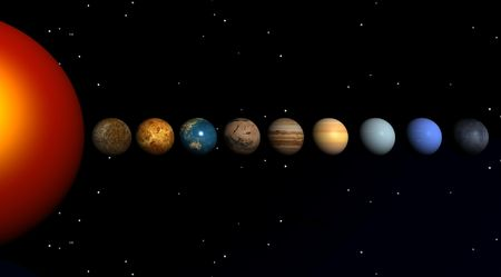 The sun and the planets on a black bottom Stock Photo