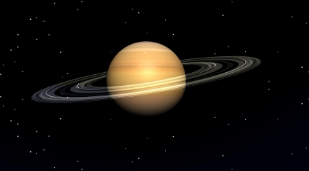 Planet saturn in a black sky filled with stars