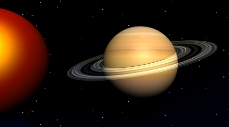 The sun and saturn in a sky filled with stars Stock Photo