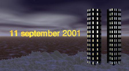 11 september: 11 de septiembre de 2001  Foto de archivo