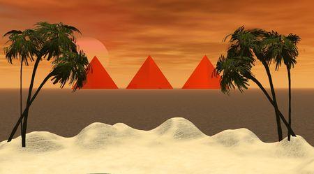 island and three pyramids photo