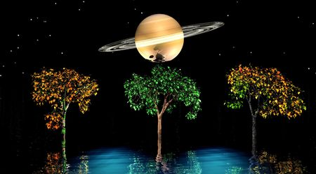 saturn and trees orange and green Stock Photo - 6073316