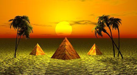 three pyramids and landscape yellow Stock Photo