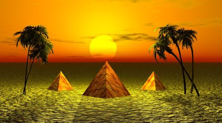 three pyramids and landscape yellow Banque d'images