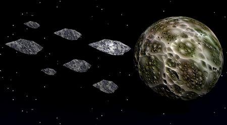 meteorites: moon and meteorites Stock Photo