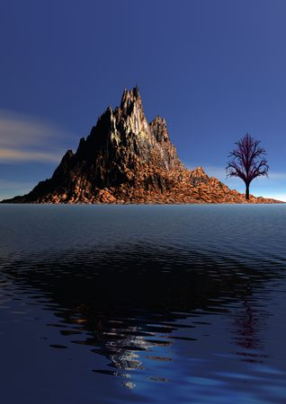 mountain orange and tree black and sky blue photo